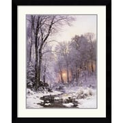 "Amanti Art Anders Anderson-Lundby ""A Twilit Wooded River in the Snow"" Framed Print Art, 36"" x 29.62"""