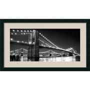 "Amanti Art Phil ""Brooklyn Bridge and Manhattan Bridge at Night"" Framed Print Art, 25.12"" x 43.12"""