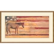 Amanti Art Michael Swearngin Horse - Red, White & Blue Framed Animal Art, 23 x 39