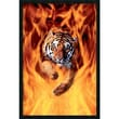 Amanti Art in.Bengal Tiger Jumping In Flamesin. Framed Print Art, 37.38in. x 25.38in.