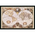 Amanti Art Henricus Hondius in.Map Of The Worldin. Framed Art, 25.38in. x 37.38in.