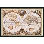"Amanti Art Henricus Hondius ""Map Of The World"" Framed Art, 25.38"" x 37.38"""