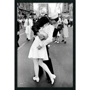 "Amanti Art Alfred Eisenstaedt ""Kissing on VJ Day - Times Square"" Framed Art, 37.38"" x 25.38"""