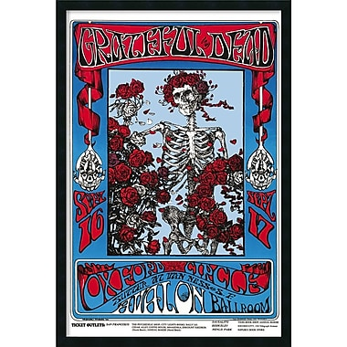 Amanti Art in.Family Dog - Grateful Dead - Skeleton and Rosesin. Framed Print Art, 37.38in. x 25.38in.
