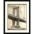 Amanti Art P. Moss in.Manhattan Bridgein. Framed Print Art, 30in. x 24in.