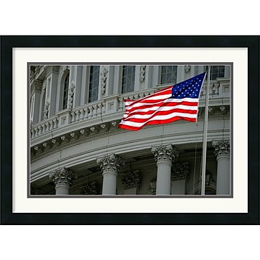 Amanti Art Andy Magee in.Capitol Flagin. Framed Print Art, 19in. x 26in.
