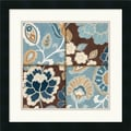 Amanti Art Alain Pelletier in.Patchwork Motif Blue Iin. Framed Art, 18in. x 18in., Satin Black