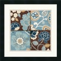 Amanti Art Alain Pelletier in.Patchwork Motif Blue IIin. Framed Art, 18in. x 18in., Satin Black