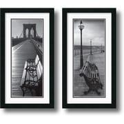 "Amanti Art ""Benches"" Framed Print Art Set, 26"" x 14"""