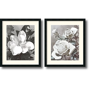 Amanti Art Marianne Hornbuckle in.White Magnolia and Rosesin. Framed Print Art Set, 27in. x 23in.