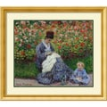 Amanti Art in.Camille Monet with Child in Painter's Garden at Argenteuilin. Framed Art, 30.38in. x 34.38in.