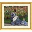 "Amanti Art ""Camille Monet with Child in Painter's Garden at Argenteuil"" Framed Art, 30.38"" x 34.38"""