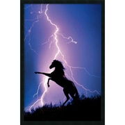 "Amanti Art ""Lightning and Silhouette Of A Horse Framed Wit"" Framed Print Art, 37.38"" x 25.38"""