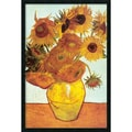 Amanti Art Vincent Van Gogh in.Sunflowers on Blue, 1888in. Framed Print Art, 37.38in. x 25.38in.