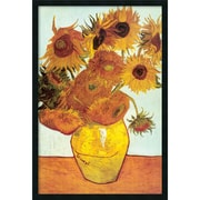 "Amanti Art Vincent Van Gogh ""Sunflowers on Blue, 1888"" Framed Print Art, 37.38"" x 25.38"""