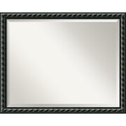 "Amanti Art 30.62"" x 24.62"" Pequot Large Wall Mirror, Black"