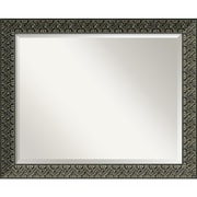 "Amanti Art 32.38"" x 26.38"" Intaglio Large Wall Mirror, Black"