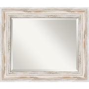 "Amanti Art 25.12"" x 21.12"" Alexandria Medium Wall Mirror, Distressed Whitewash"