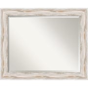 "Amanti Art 33.12"" x 27.12"" Alexandria Large Wall Mirror, Distressed Whitewash"