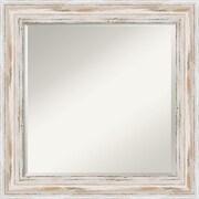 "Amanti Art 25.12"" x 25.12"" Alexandria Square Wall Mirror, Distressed Whitewash"