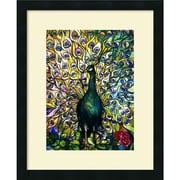 Amanti Art Tiffany Studios Fine Peacock Framed Animal Art, 22 x 18