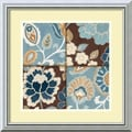 Amanti Art Alain Pelletier in.Patchwork Motif Blue Iin. Framed Art, 18in. x 18in., Burnished Silver