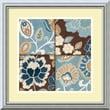 """Amanti Art Alain Pelletier """"Patchwork Motif Blue I"""" Framed Art, 18"""" x 18"""", Burnished Silver"""