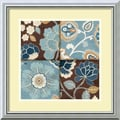 Amanti Art Alain Pelletier in.Patchwork Motif Blue IIin. Framed Art, 18in. x 18in., Burnished Silver