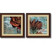 "Amanti Art Christina Lazar Schuler ""Graffiti Rose & Gerbera"" Framed Print Art Set, 25"" x 25"""