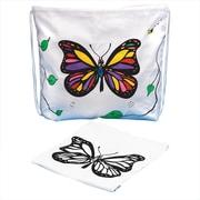 S&S® Color-Me Drawstring Bag With Velvet Art Butterfly, 12/Pack