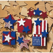 Geeperz™ Patriotic Wood Pins Craft Kit, 48/Pack