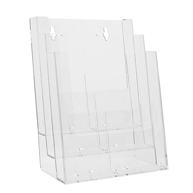 Acrylic Brochure Holder, 3-Tier Full-Page Countertop with Busines Card and Accessory Kit, 2/Pack