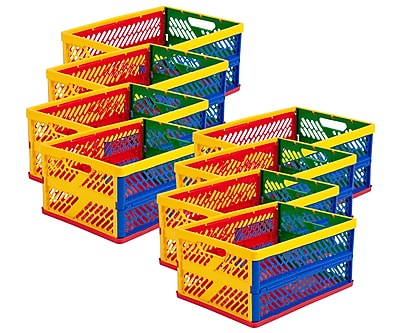 ECR4Kids Large Vented Collapsible Crate, Assorted, 12/Pack 40225