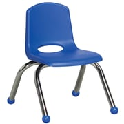 ECR4Kids® 10(H) Plastic Stack Chair With Chrome Legs & Ball Glides, Blue