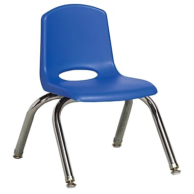 ECR4Kids® 10in.(H) Plastic Stack Chair With Chrome Legs & Nylon Swivel Glides, Blue