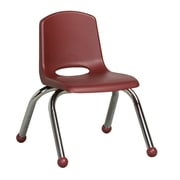 ECR4Kids® 10(H) Plastic Stack Chair With Chrome Legs & Ball Glides, Burgundy