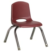 ECR4Kids® 10(H) Plastic Stack Chair With Chrome Legs & Nylon Swivel Glides, Burgundy