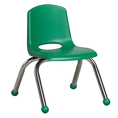 ECR4Kids® 10in.(H) Plastic Stack Chair With Chrome Legs & Ball Glides, Green