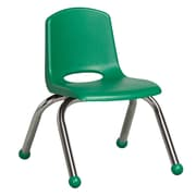 ECR4Kids® 10(H) Plastic Stack Chair With Chrome Legs & Ball Glides, Green
