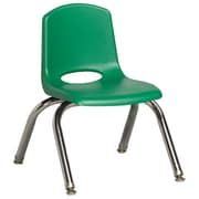 "ECR4Kids® 10""(H) Plastic Stack Chair With Chrome Legs & Nylon Swivel Glides, Green"