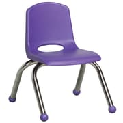 ECR4Kids® 10(H) Plastic Stack Chair With Chrome Legs & Ball Glides, Purple