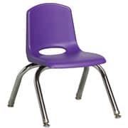 ECR4Kids® 10(H) Plastic Stack Chair With Chrome Legs & Nylon Swivel Glides, Purple