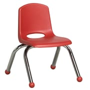 ECR4Kids® 10(H) Plastic Stack Chair With Chrome Legs & Ball Glides, Red