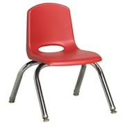 ECR4Kids® 10(H) Plastic Stack Chair With Chrome Legs & Nylon Swivel Glides, Red
