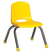 ECR4Kids® 10(H) Plastic Stack Chair With Chrome Legs & Ball Glides, Yellow