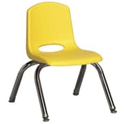 ECR4Kids® 10(H) Plastic Stack Chair With Chrome Legs & Nylon Swivel Glides, Yellow