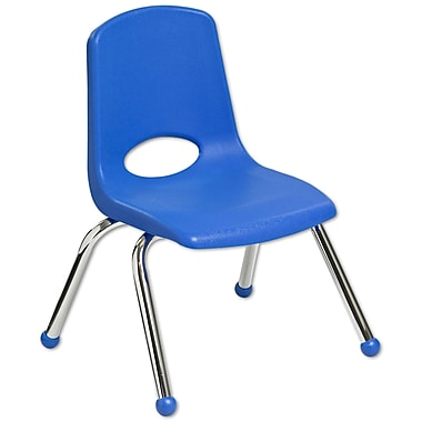 ECR4Kids® 12in.(H) Plastic Stack Chair With Chrome Legs & Ball Glides, Blue