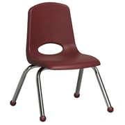 ECR4Kids® 12(H) Plastic Stack Chair With Chrome Legs & Ball Glides, Burgundy