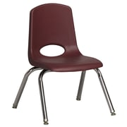 ECR4Kids® 12(H) Plastic Stack Chair With Chrome Legs & Nylon Swivel Glides, Burgundy