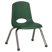 ECR4Kids® 12(H) Plastic Stack Chair With Chrome Legs & Ball Glides, Green